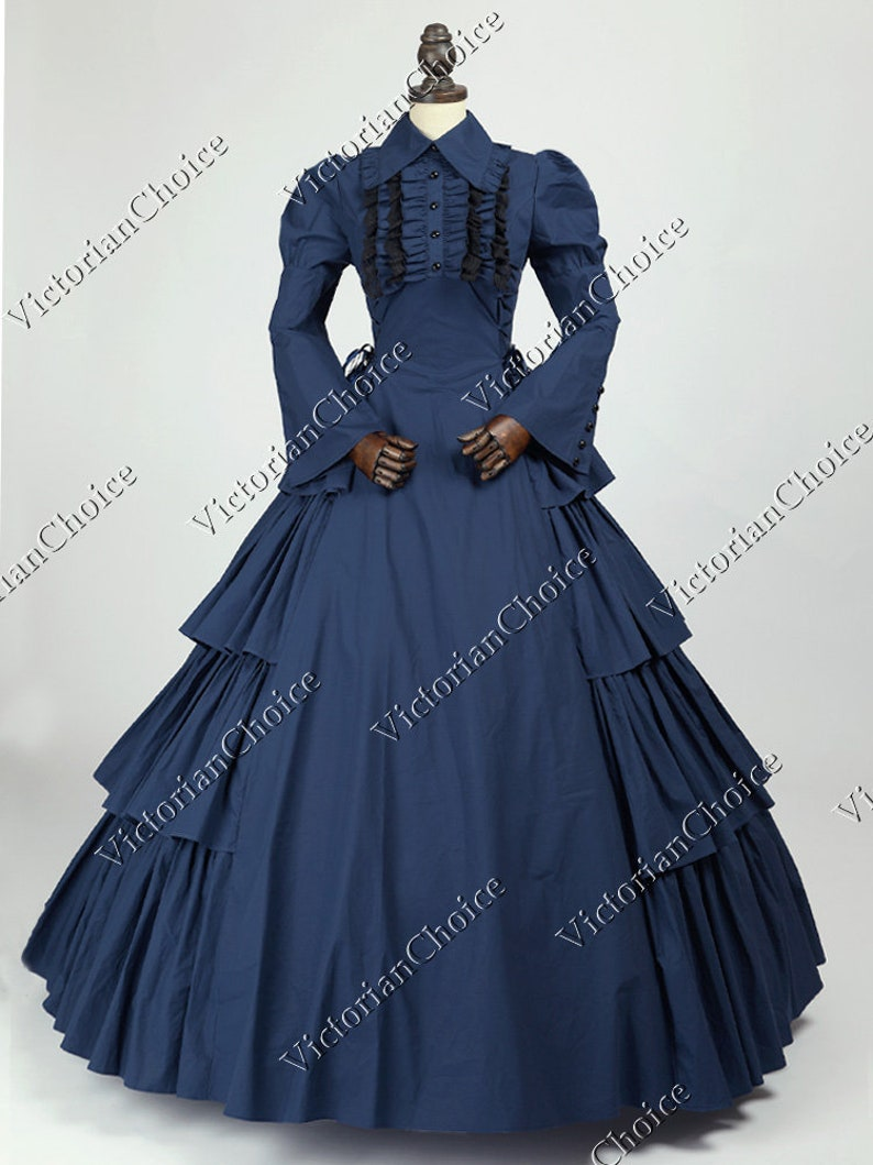Victorian Clothing, Costumes & 1800s Fashion Victorian Maid Navy Blue Cotton Dress Gothic Royal Holiday Ball Gown Theater Steampunk Costume $149.00 AT vintagedancer.com