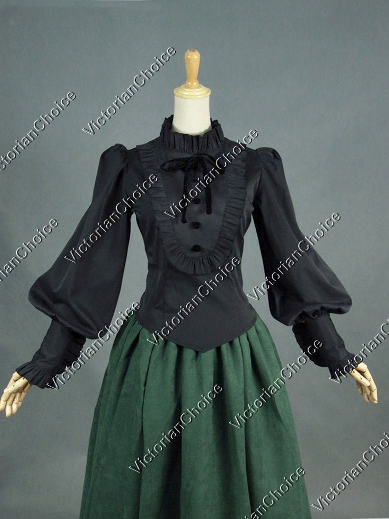 Victorian Clothing, Costumes & 1800s Fashion Ladies Victorian Edwardian Vintage Romantic Black Steampunk Ruffled Long Sleeve Blouse Shirt Witch Halloween Costume $69.95 AT vintagedancer.com