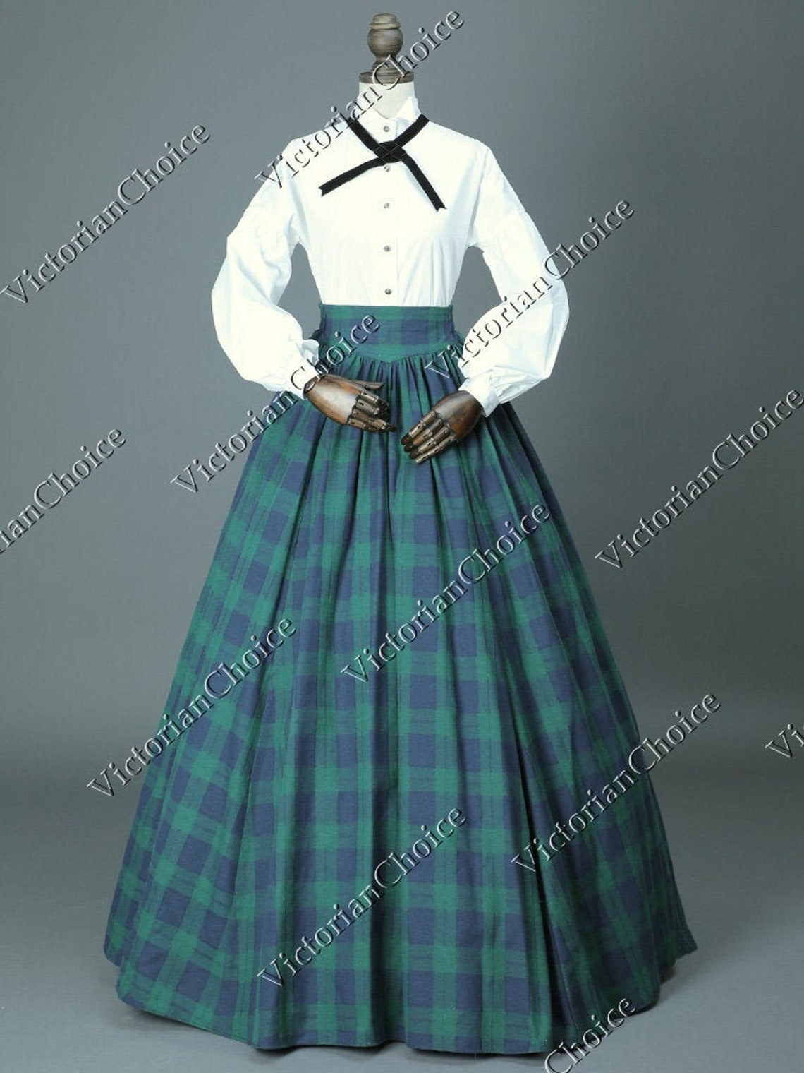 Victorian Clothing, Costumes & 1800s Fashion Civil War Victorian Charles Dickens Christmas Caroler Tartan Dress Frontier Women Country Maid Theater Halloween Costume $149.00 AT vintagedancer.com
