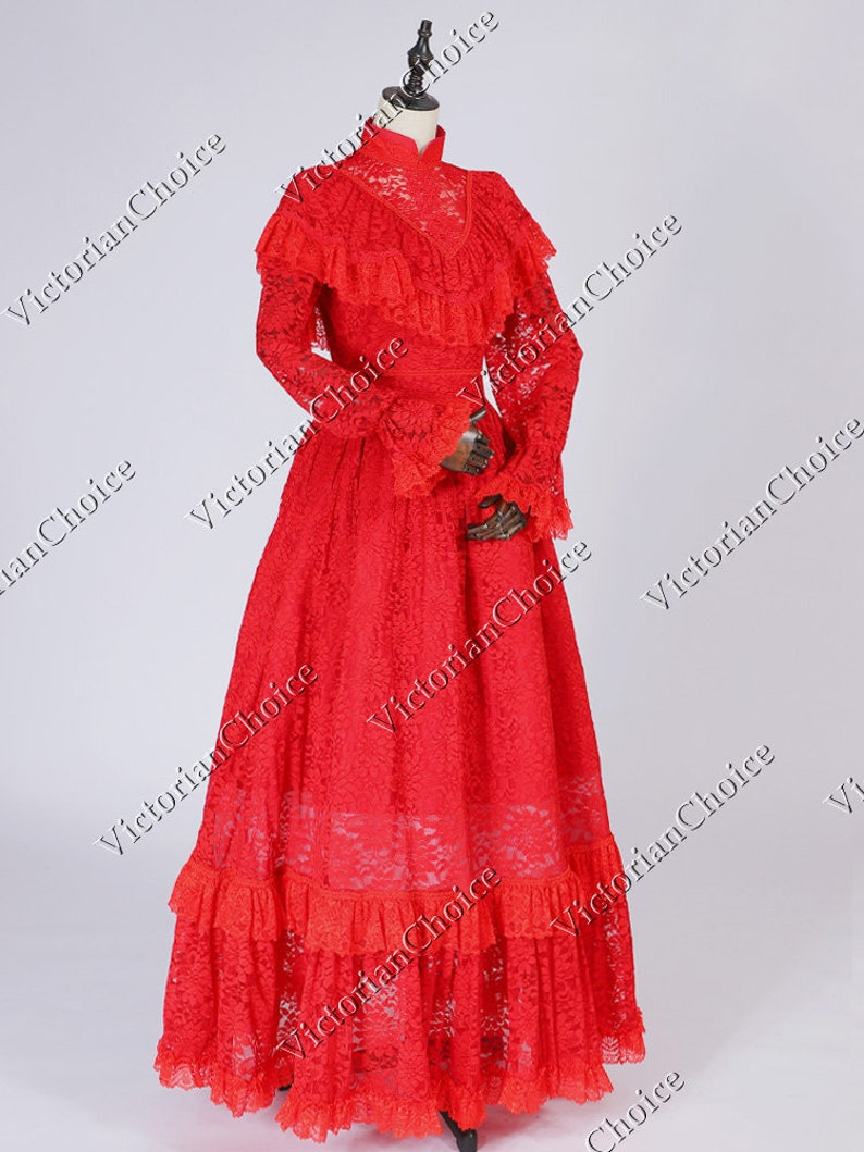 Victorian Dresses | Victorian Ballgowns | Victorian Clothing Victorian Edwardian Red Gothic Beetlejuice Bride Wedding Dress Theatrical Vampire Women Halloween Costume $165.00 AT vintagedancer.com