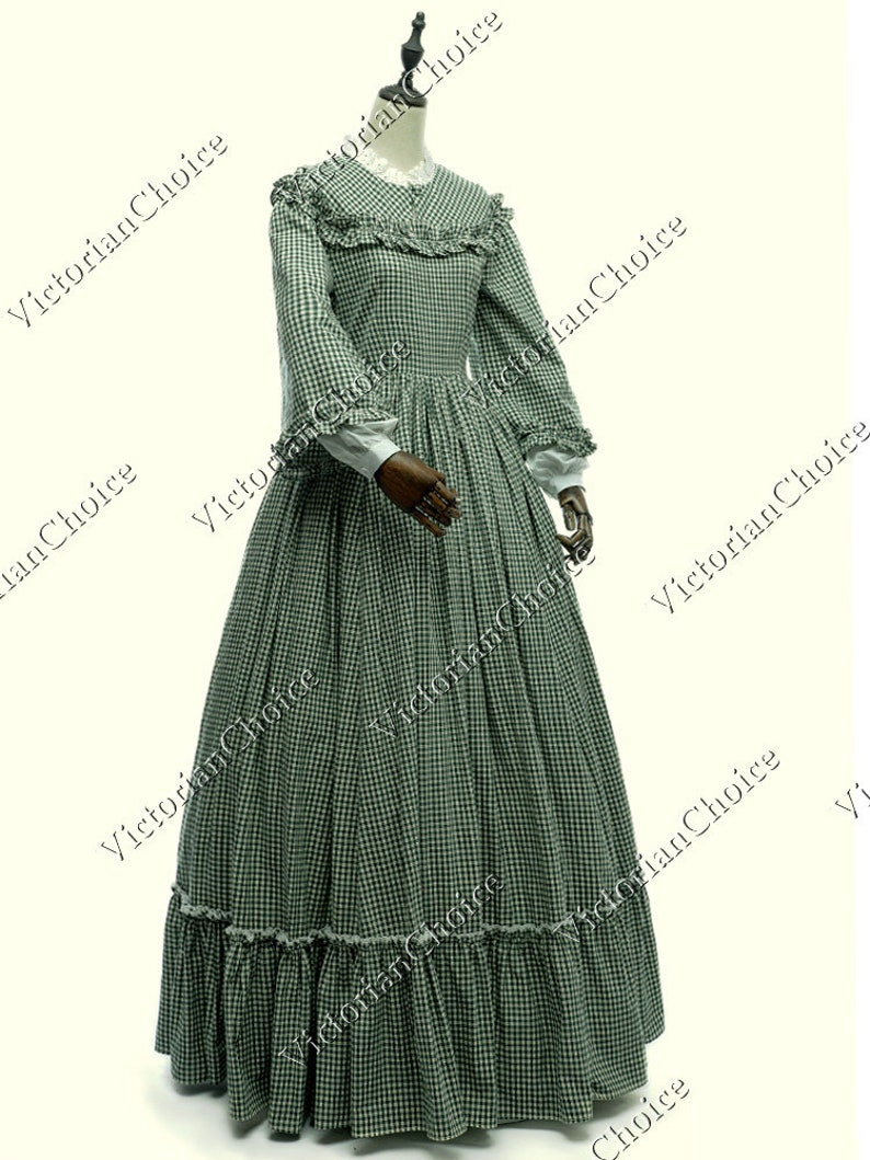 Victorian Clothing, Costumes & 1800s Fashion Victorian Dickens Faire Christmas Carol Pioneer Women Tartan Dress Civil War Little Women Theater Reenactment Halloween Costume $159.00 AT vintagedancer.com
