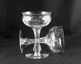 """Vintage Champagne Glasses-WEDDING GLASSES """"FLOWER"""" polished cutting-Hollow Stem Glasses-by Unknown Glass Co- (Sold as a Pair) Free Shipping!"""