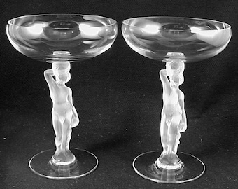 Vintage WEDDING or ANNIVERSARY Champagne Glasses- Dionysus (BACCHUS)-by Bayel of France- Circa 1960- (Sold as a Pair) Free Shipping!