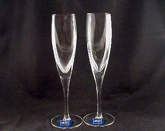 """Contemporary Champagne Flutes- WEDDING FLUTES """"Panache Square"""" by Mikasa- Circa 2002-2013- (Sold as a Pair) Free Shipping!"""