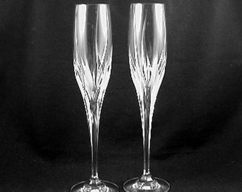 """Contemporary Champagne Flutes- WEDDING FLUTES """"Flame D'Amore"""" by Mikasa- Circa 1991-2020- (Sold as a Pair) Free Shipping!"""