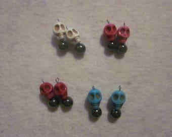 Skull & Hematite Earring