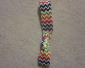 Rainbow Chevron Ponytail Holder/Tie
