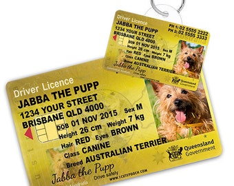 e4df912eaa11 Queensland Australia Driver License Custom Pet ID Tags and Wallet Card - Dog  ID Tag - Personalized Pet ID Tags