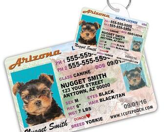 ff97768637d6 Arizona Driver License Custom Pet ID Tags and Wallet Card - Dog ID Tag -  Personalized Pet ID Tags