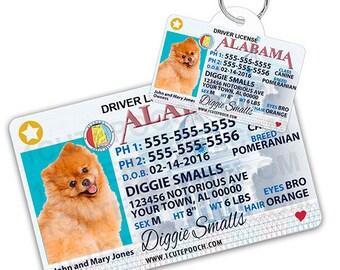 d7d15c05d78b Alabama Driver License Custom Pet ID Tags and Wallet Card - Dog ID Tag -  Personalized Pet ID Tags