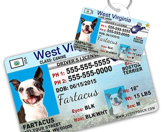 2ec0d32d3790 West Virginia Driver License Custom Pet ID Tags and Wallet Card - Dog ID Tag  - Personalized Pet ID Tags