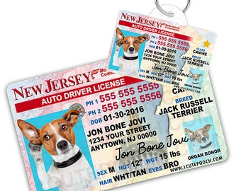 e2dcee2a57c9 New Jersey Driver License Custom Pet ID Tags and Wallet Card - Dog ID Tag -  Personalized Pet ID Tags