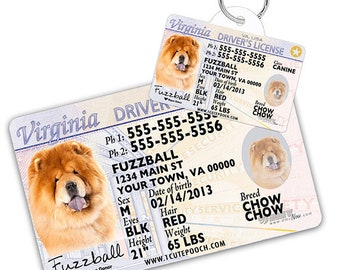 01ed42e304b5 Virginia Driver License Custom Pet ID Tags and Wallet Card - Dog ID Tag -  Personalized Pet ID Tags