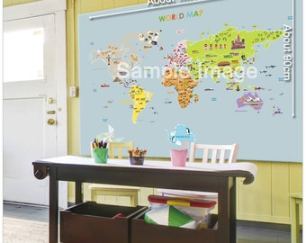 Big world map etsy world map big size wall point sticker gumiabroncs Images