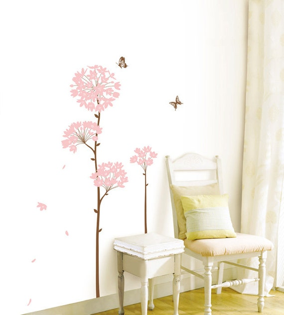 Wall Point Art Decor Mural Sticker Pink Petal Spring Etsy