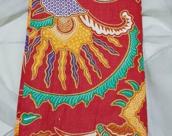 Éventail Bambou Tissu Batik et Bois Sac à Main Pliant Artisanat Java Indonésie 3 Vêtements, accessoires