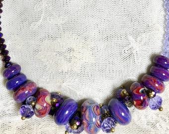 MILLISECONDSUNRISE Artisan Borosilicate Lampwork Glass Beads, Crystal, and Brass Toggle Necklace