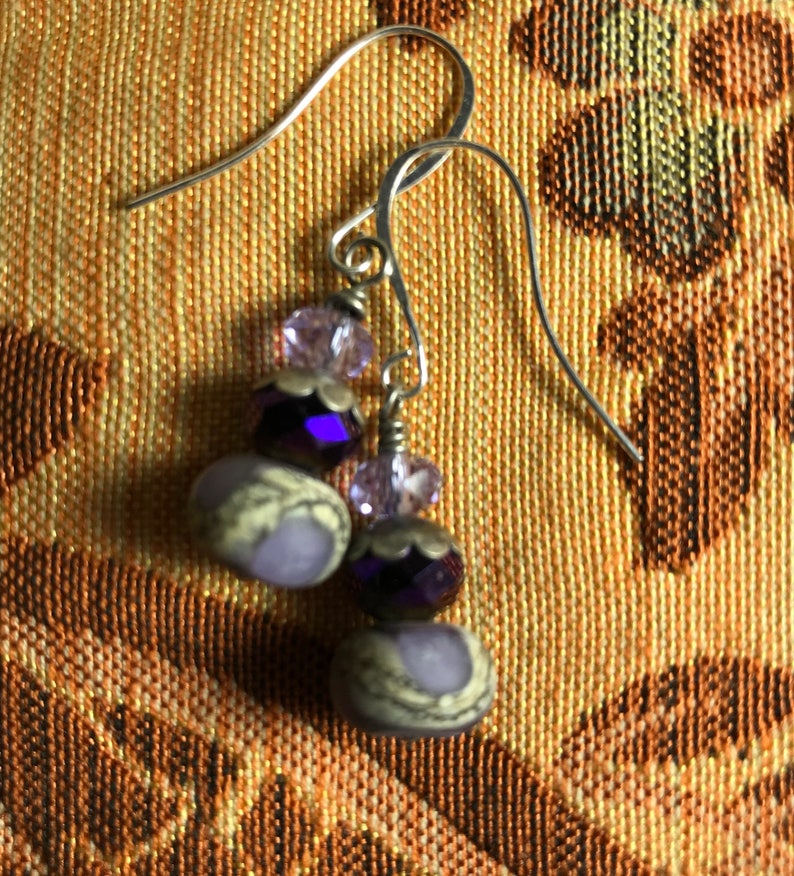 Artisan Lampwork and Crystal on Silver Plate Hooks Artisan Jewelry Ooak MISS PLUM