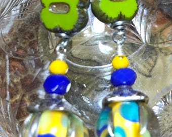 Artisan Borosilicate Lampwork Earrings, Czech Glass, and Crystals on Sterling Hooks Ooak Artisan Jewelry VERY LUCKY