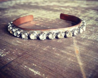 Boho Glam Rhinestone Bracelet, Bohemian Rhinestone Bracelet, Skinny Cuff Bracelet