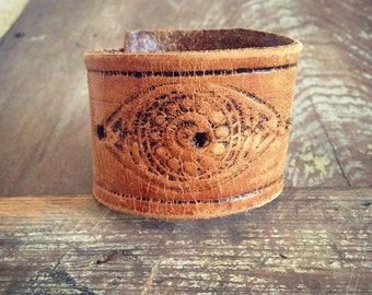 Evil Eye Cuff Bracelet, Leather Cuff Bracelet