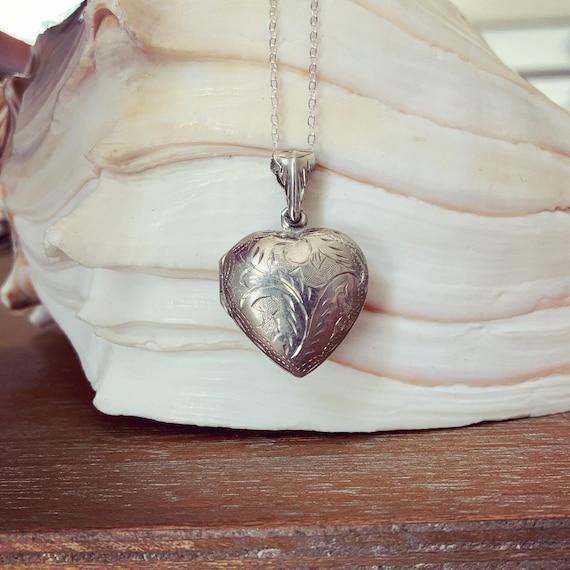 Vintage Sterling Locket Necklace, Puffy Heart Lock