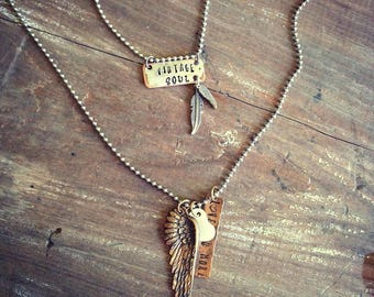 Vintage Soul Necklace, Old Soul Necklace, Feather Necklace, Arrow Necklace, Wanderlust, Hand Stamped Jewelry