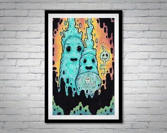 Monster Ghost Art - Macabre Creature Art - Weird Strange Painting - Outsider Lowbrow - Spirit Family 8x10