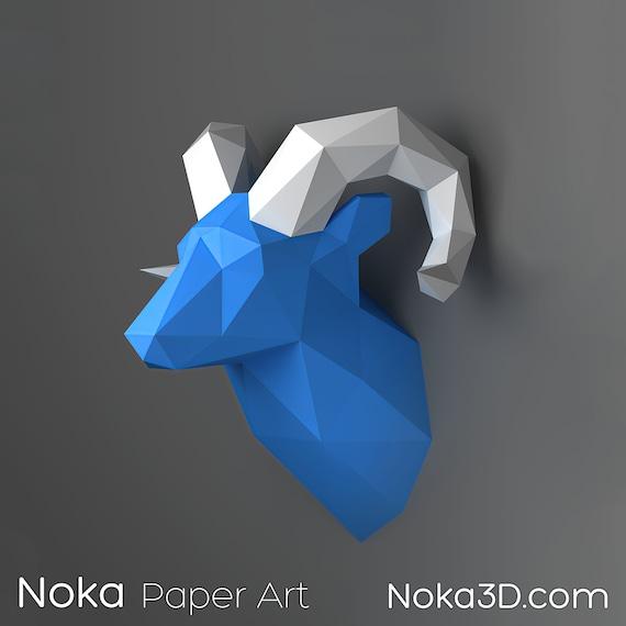 Ram Head Trophy 3d Papercraft Model Downloadable Diy Etsy