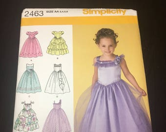 UNCUT Simplicity Sewing Pattern 2463-Children's Formal Dress Sizes 3-6