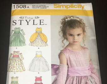 UNCUT Simplicity Pattern 1508- Children's Dress Sizes 4-8