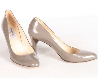 171cbc069db JIMMY CHOO Taupe Leather High Heels Metallic Detail Italian Made Pumps  Patent Women's 9