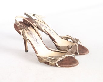 1f296bfe9804 JIMMY CHOO Suede Brown Gold Leather Dress Shoes Stiletto Strap Sling Back  High Heel Women s 8