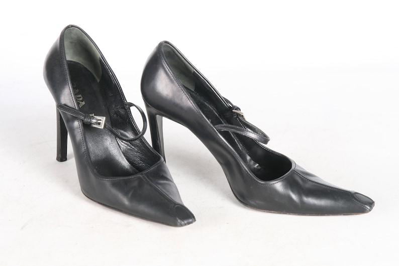 e1c8675b5e60 Prada Black 90s Heels EU 39 AU 8.5 Made In ITALY Pointy Toe