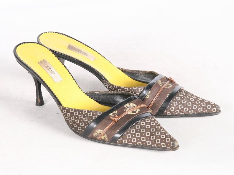 8e69a5f1e0 Prada Brown Black 90s Slide Kitten Heels EU 37.5 Made In ITALY | Etsy