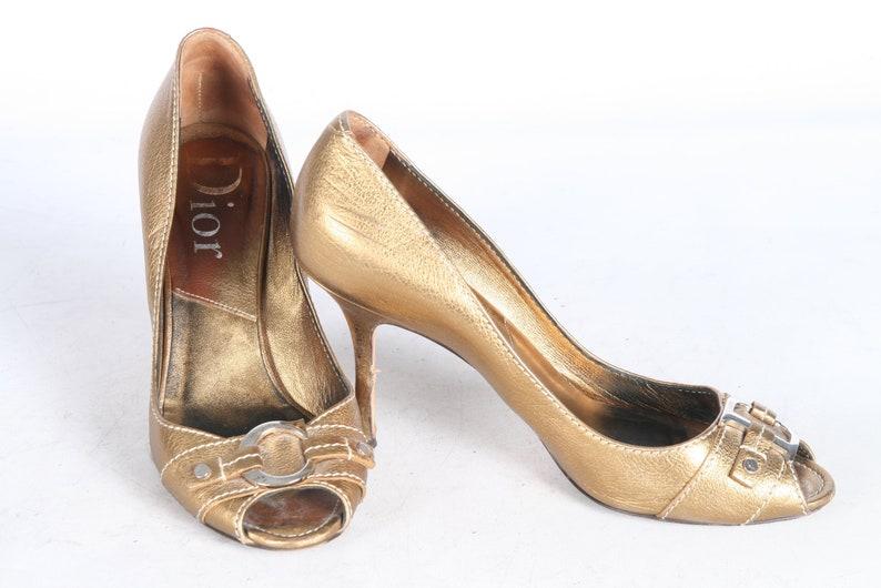 9150e78f782d9 Christian DIOR Gold Leather Peep Toe Pump Court Shoe HIGH HEEL Women s Eur  3... Christian DIOR Gold Leather Peep Toe Pump Court Shoe HIGH HEEL Women s  Eur ...