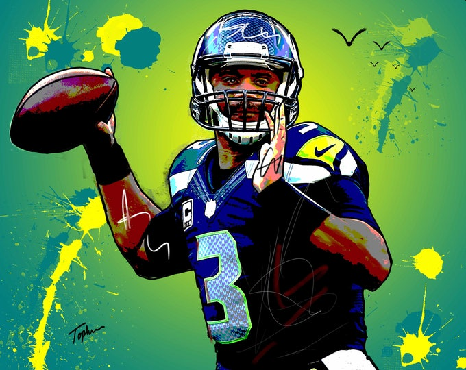 """Featured listing image: Limited Edition Print.  """" Russell Wilson """" Digital Art, Wall art, painting. print, Acrylic painting."""