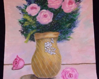 Pink Flower Art - Pink Flower Painting - Pink Flowers - Christmas Flowers - Valentines Flowers - Mothers Day - Romantic Art