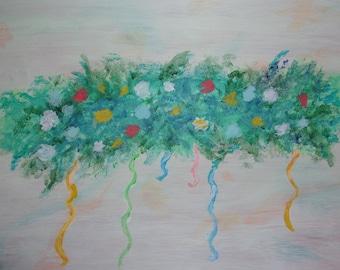 Abstract Flower Art - Flower Drip Art - Fantasy Flower art - Impressionists Art - Red Roses Art - White Roses Art