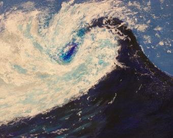 Ocean Seascape Painting - Acrylic Ocean Painting - Ocean Landscape Painting -  Crashing Waves Art - Acrylic Ocean Art  - 11 x 14 -  25.00