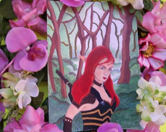 Felicia Day Painting - Elf Painting - Dragon Age Art - Fantasy Female Art - Elf Painting - Felicia Day Art -  15.00