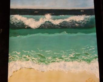 Ocean Seascape Painting - Acrylic Ocean Painting - Ocean Landscape - Crashing Ocean Waves - Acrylic Ocean Art  - 11 x 14 - 25.00