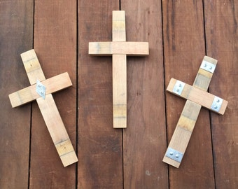 Small Wood Cross Sculpture From Recycled Wine Barrel- Small