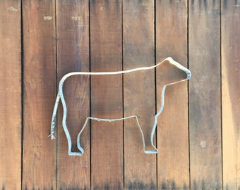Cow Sculpture | Farm Animal | Farmhouse Decor | Country Style | Handmade From Recycled Wine Barrel Metal Hoop Ring