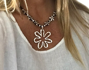 Gift For Her Girlfriend Gift Bohemian Necklace Antique Silver Flower Necklace Statement Necklace Turquoise Floral Design Necklace