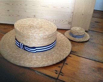 Handmade Straw Full-size Boater or Miniature Boater/Facinator