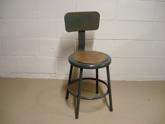Magnificent Vintage Grey Metal Drafting Stool Seat Industrial School Shop Retro Loft Kitchen Bar Step Chair Antique Mid Century Modern Eames Machost Co Dining Chair Design Ideas Machostcouk