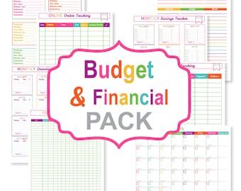 Printable budget planner PACK - printable bill tracker - printable bill organizer pdf - printable finance sheets