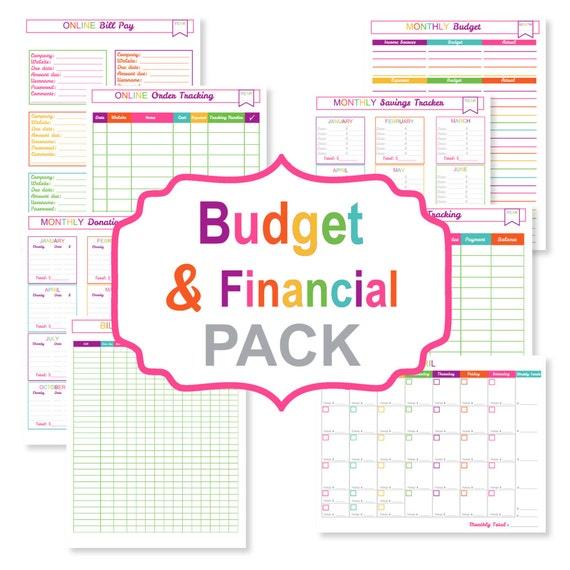 printable budget planner pack printable bill tracker etsy
