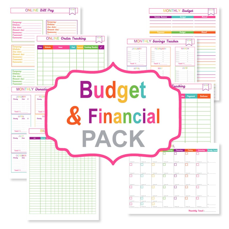 picture relating to Bill Tracker Printable called Printable price range planner PACK - printable monthly bill tracker - printable monthly bill organizer pdf - printable finance sheets